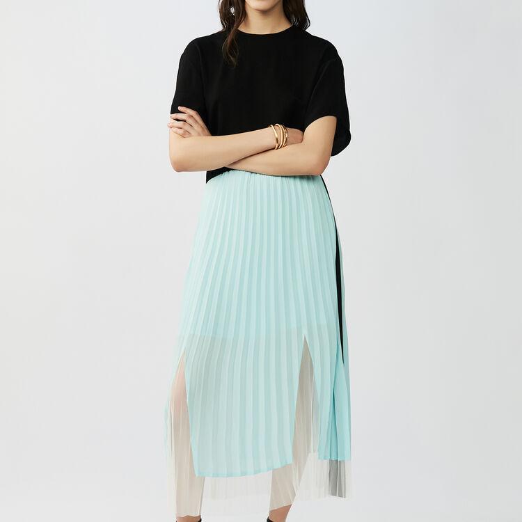 Vestido plisado bicolor : Vestidos color Negro