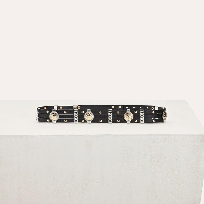 Cinturón tiro alto de cuero : Cinturones color Negro