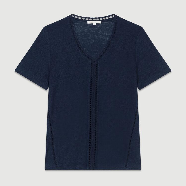 Top de lino calado : T-Shirts color Azul Marino