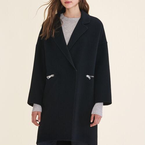 Mantel aus Doubleface-Wolle : Abrigos color Negro