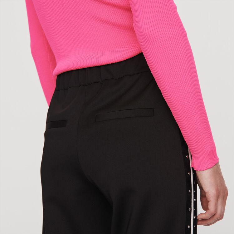 Pantalón con bandas a contraste y clavos : Colección invierno color Negro