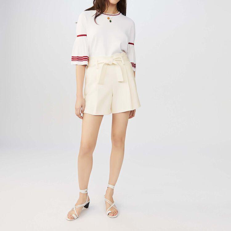 Short tiro alto de crepe : Faldas y shorts color Blanco