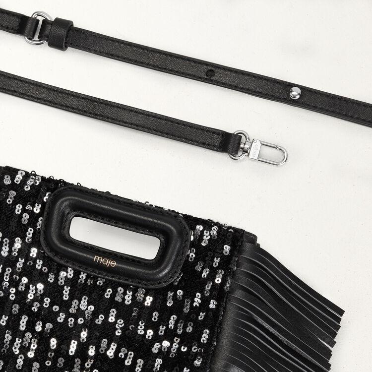 Mini-bolso M en cuero y lentejuelas : Piel color Negro