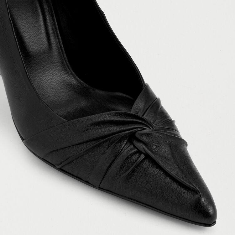 Zapatos salón drapeados de cuero : Zapatos de tacón color Negro
