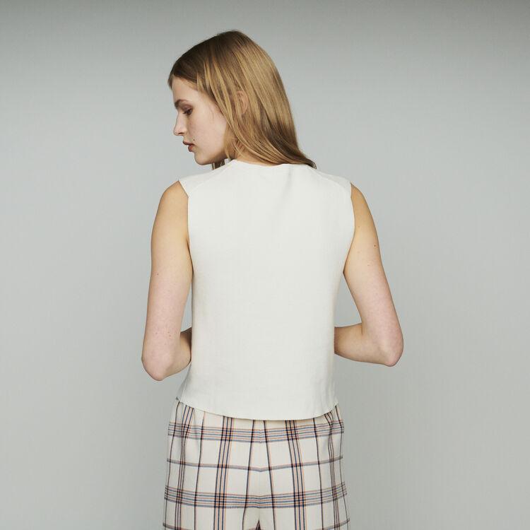 Suéter sin mangas en algodón mezclado : Jerseys y cárdigans color ECRU