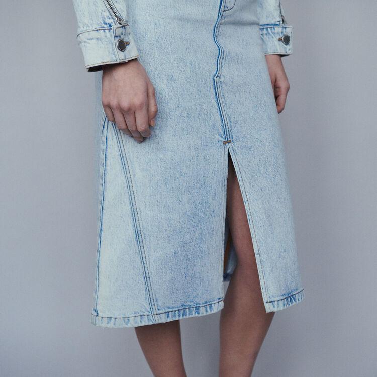 Falda larga en denim desteñido : Faldas y shorts color Denim
