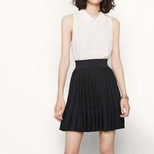 Falda de punto con plisado acordeón : Faldas y shorts color Negro