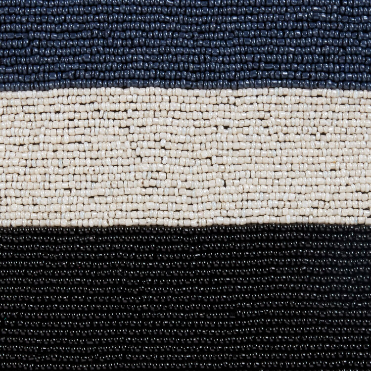 Bolso M de piel de cordero con perlas : Bolsos M color Azul Marino