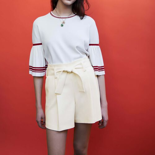 Short tiro alto de crepe : Faldas y shorts color Blanco