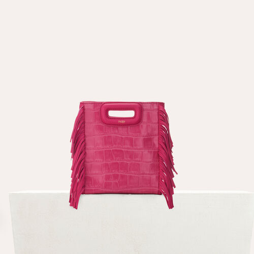 Mini-bolso M en croco con cadena : Piel color Rosa