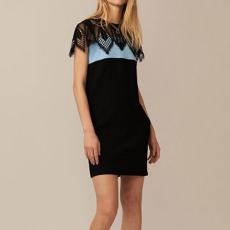 Vestido bicolor con detalle en encaje : Vestidos color BLEU CIEL