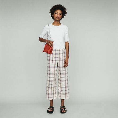 Pantalon pierna ancha de cuadros : Pantalones color CARREAUX