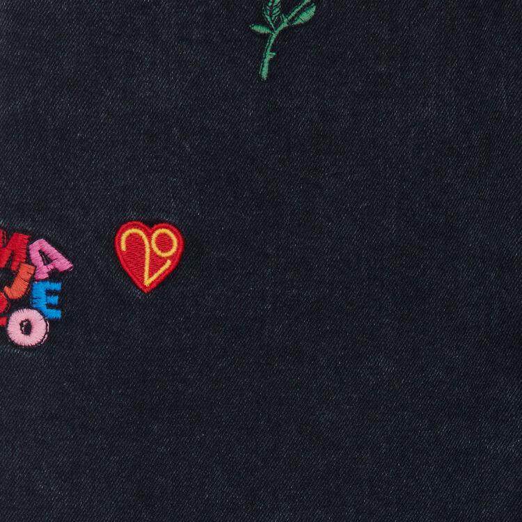 Jean recto con bordados : Le denim color Gris