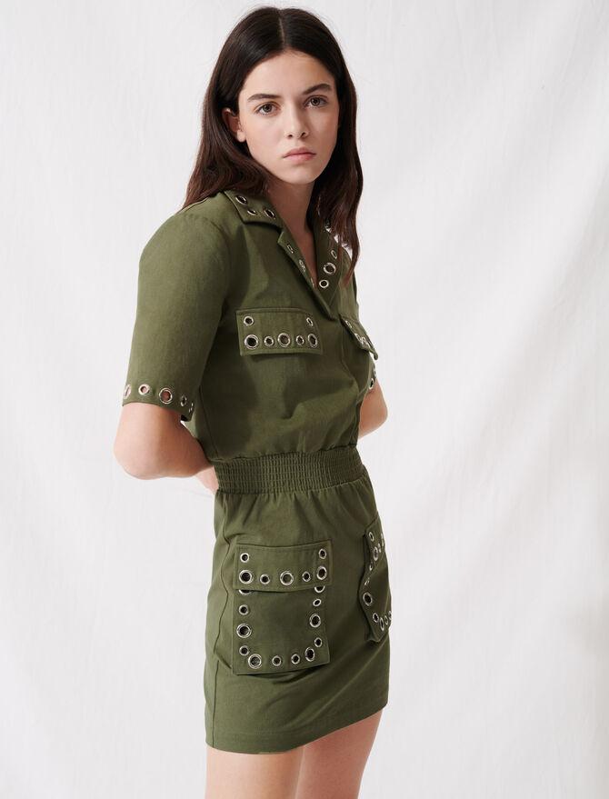 Vestido sahariana caqui con ojales - Vestidos - MAJE