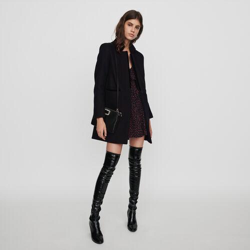 Abrigo de tela de lana y terciopelo : Abrigos y Cazadoras color Negro