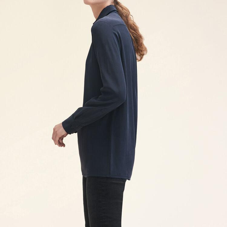 Camisa de seda con cremallera : Tops color Negro