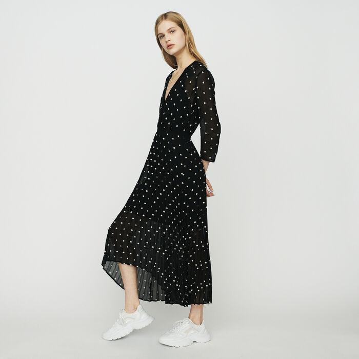 Vestido largo plisado : Vestidos color NEGRO