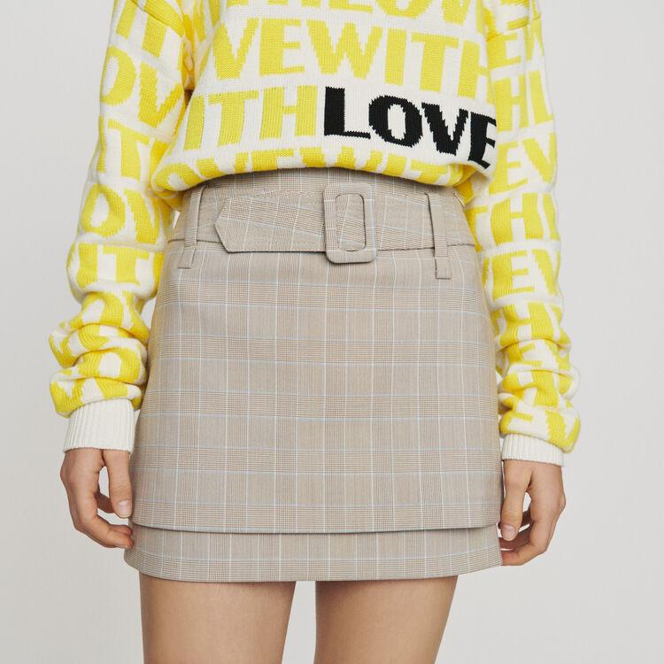 Falda corta de cuadros con cinturón : Faldas y shorts color CARREAUX