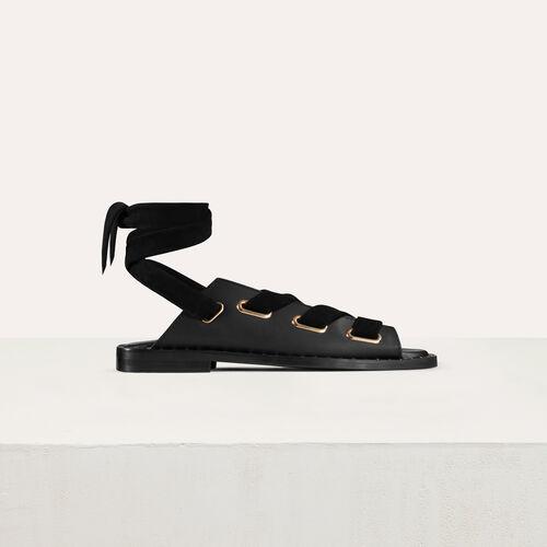 Sandalias planas de cuero : Zapatos planos color Negro