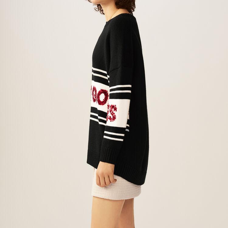 Jersey con rayas y lentejuelas : Malla color Negro