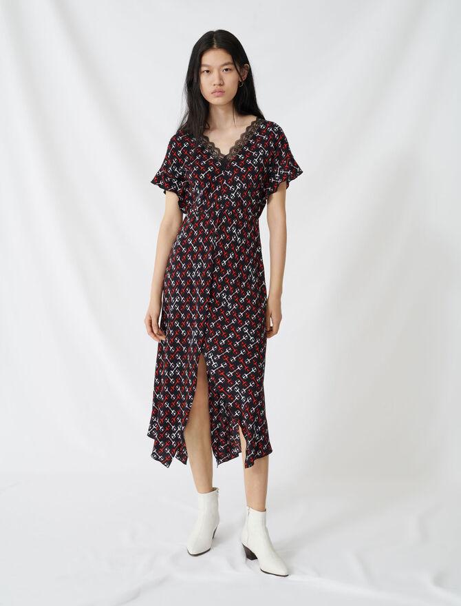 Vestido largo de crepé estampado pañuelo - Vestidos - MAJE