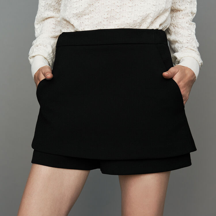 Short 2 en 1 de crepé : Faldas y shorts color Negro