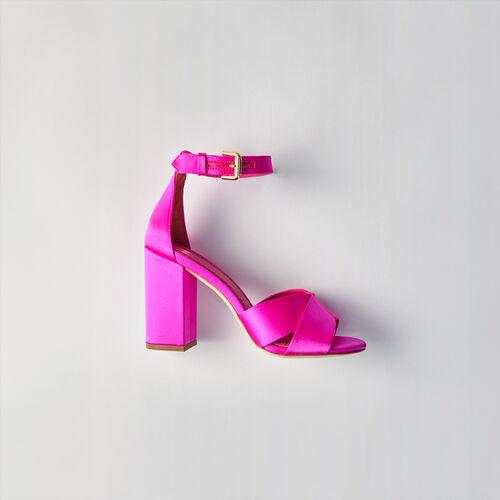 Sandalias de raso con tacón : Zapatos de tacón color Rosa Flúor