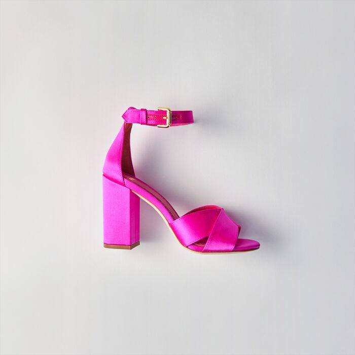 Sandalias de raso con tacón : Zapatos de tacón color VERT