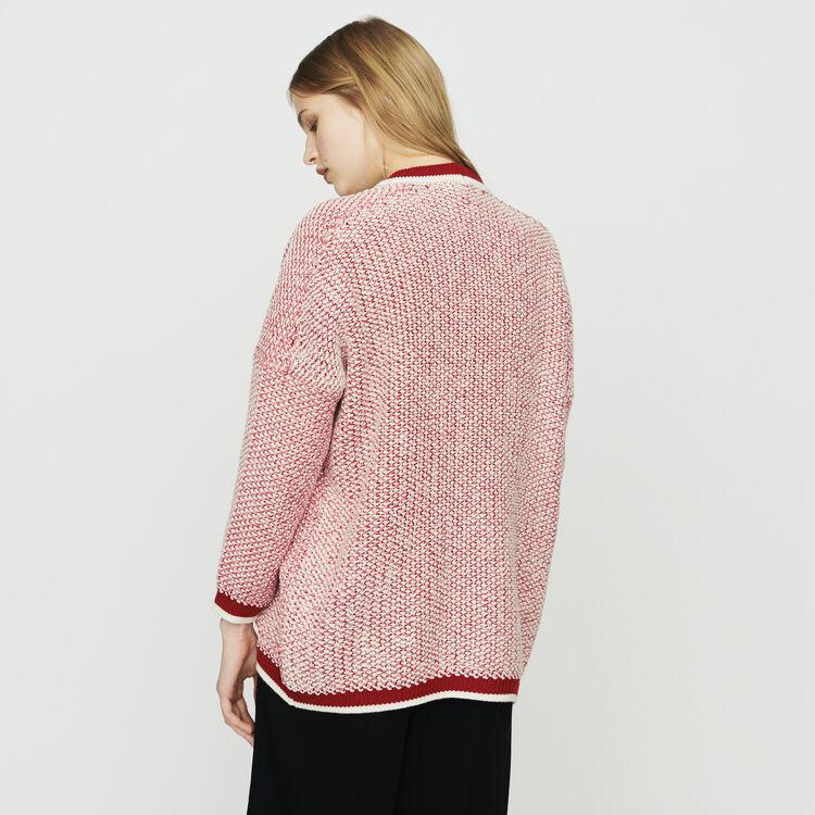 Cárdigan largo medio de punto bicolor : Jerseys y cárdigans color Rojo