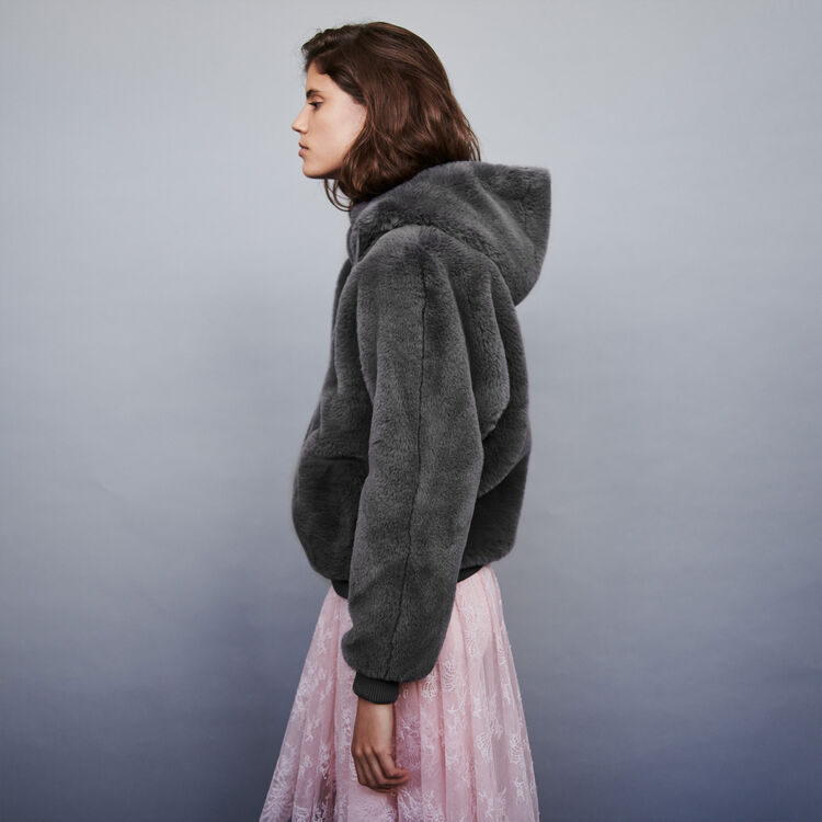 Cazadora en piel falsa con capucha : Abrigos y Cazadoras color Gris