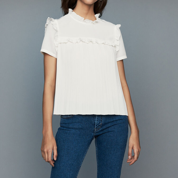 Blusa plisada a volantes : Tops color Blanco