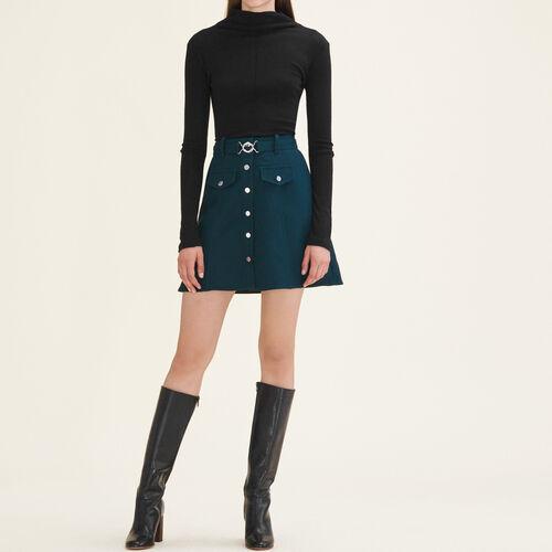 Falda trapecio con cinturón : Faldas y shorts color Verde