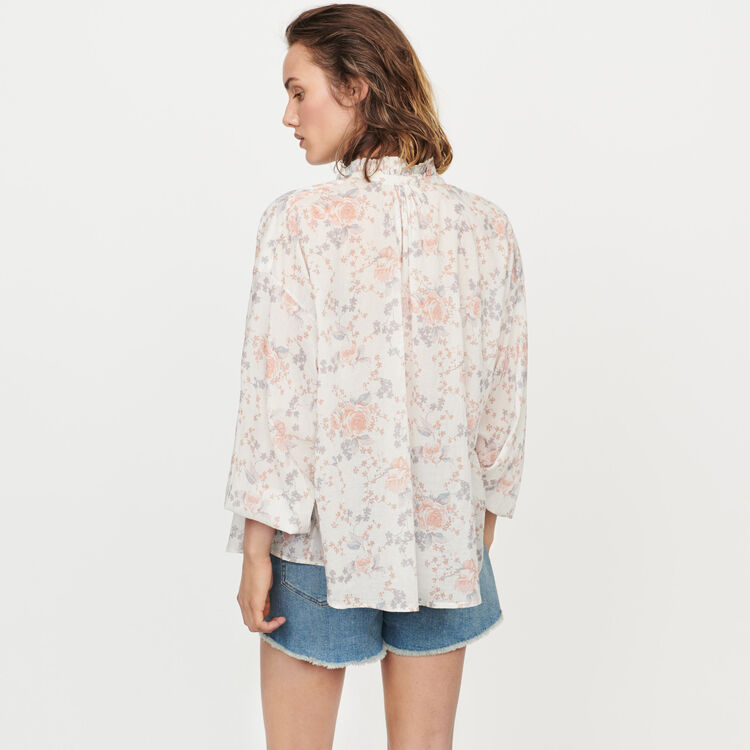 Blusa de flor en velo de algodón : Tops y Camisas color Rosa
