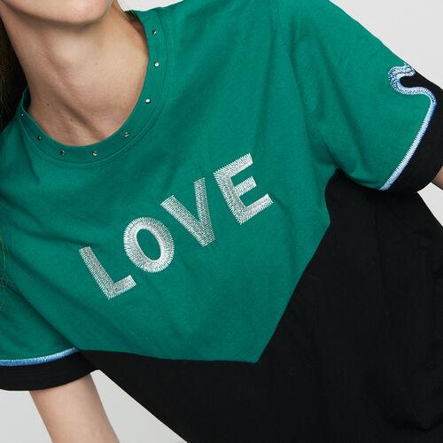 Camiseta bicolor con bordado : T-Shirts color Multicolor