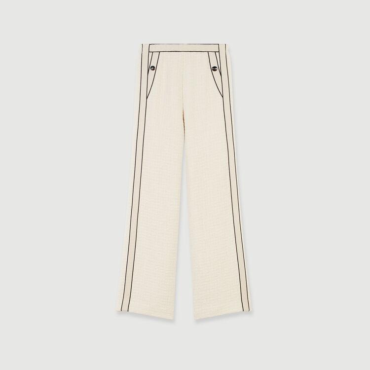 Pantalón ancho tipo tweed a contraste : Colección invierno color Crudo