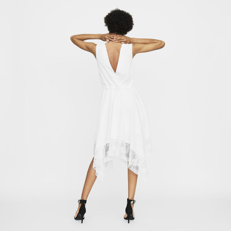 Vestido largo sin mangas con encaje : Prêt-à-porter color Blanco