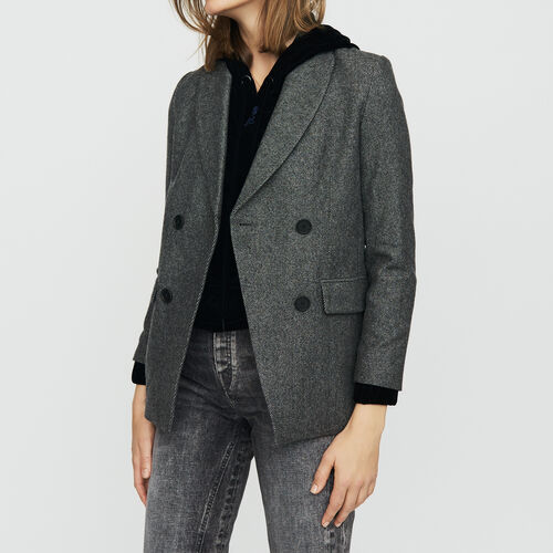Blazer de lana mezclada : Office girl color Gris