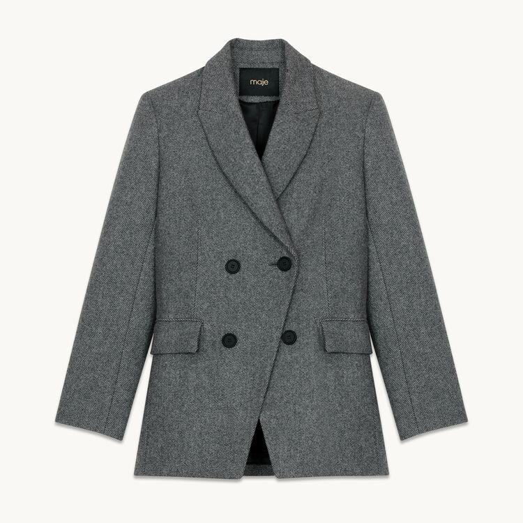 Blazer de lana mezclada : Chaquetas color Gris
