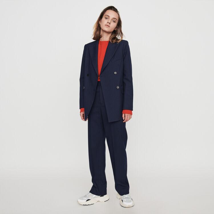 Pantalón recto a rayas tennis : Pantalones y Jeans color Azul Marino