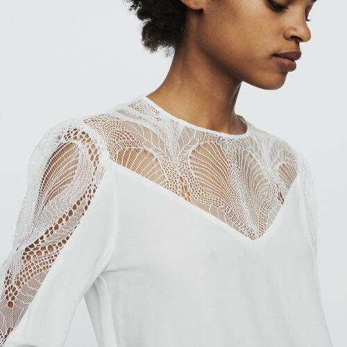 Top  con encaje : Tops y Camisas color Blanco