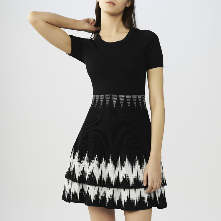 Vestido de punto con volantes : Vestidos color Negro