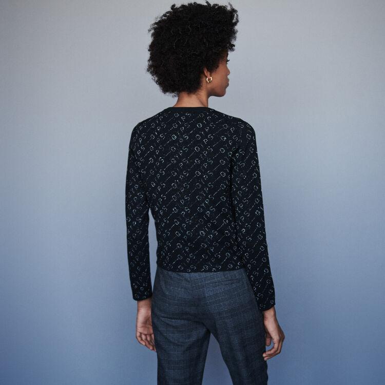Cárdigan en Jacquard Lurex : Jerseys y cárdigans color Negro