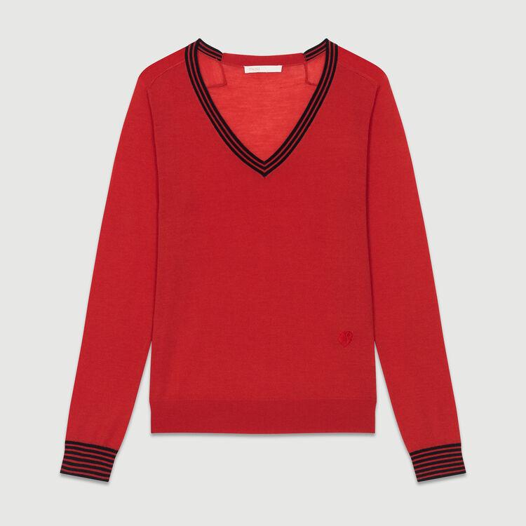 Jersey fino de lana de merinos : Nueva Colección color Rojo