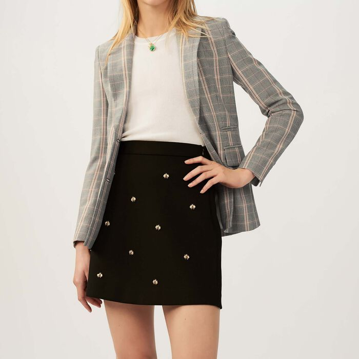 Falda con abejas bordadas : Faldas y shorts color Negro