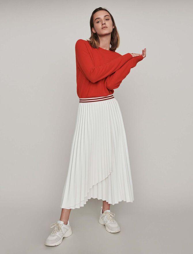 Falda plisada con bandas a contraste - Faldas y shorts - MAJE