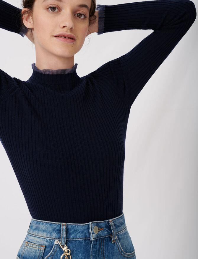 Jersey acanalado con cuello de volantes - null - MAJE