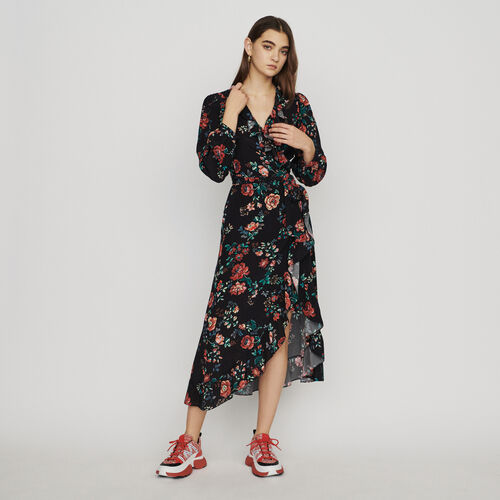 Vestido largo cruzado estampado : Vestidos color IMPRIME