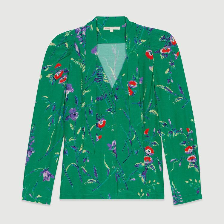 Blusa estampada con corbata : Tops y Camisas color IMPRIME