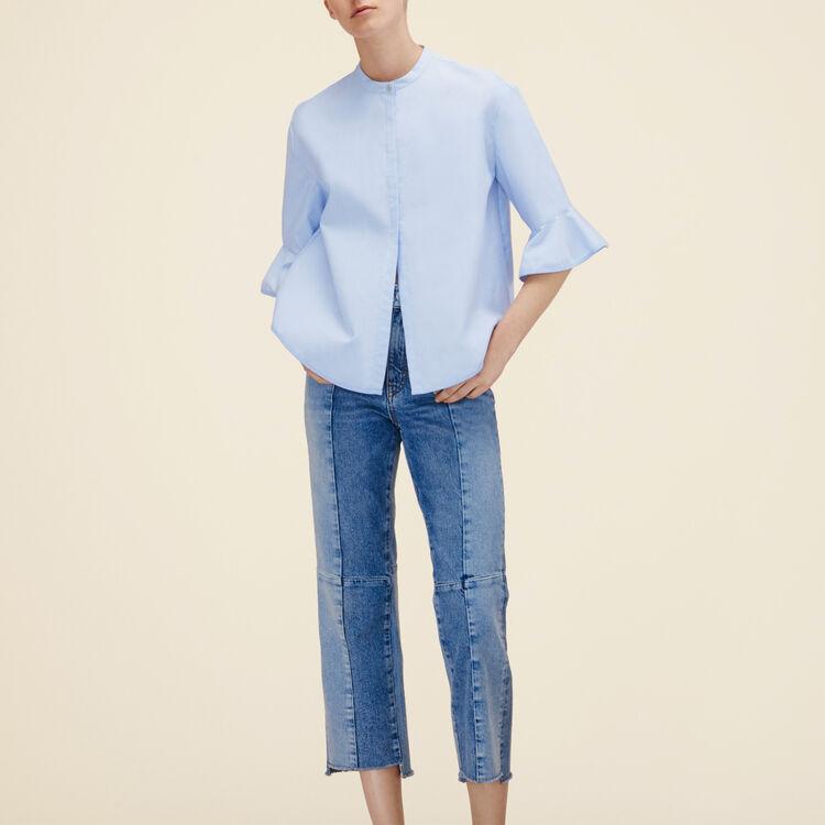 Camisa a rayas de popelina : Camisas color Azul Celeste