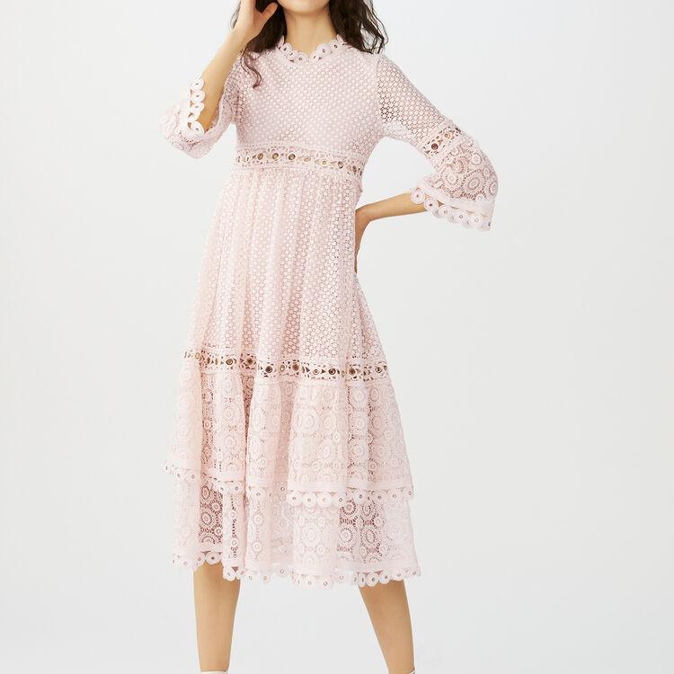 Vestido largo de guipur : Vestidos color Rosa